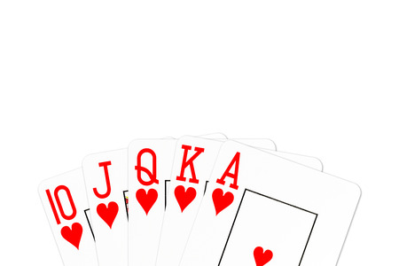 poker hand royal flush in hearts isolated on white background Stock Photo
