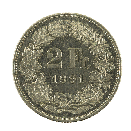 2 swiss franc coin (1991) obverse isolated on white background