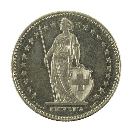 2 swiss franc coin (1991) reverse isolated on white background