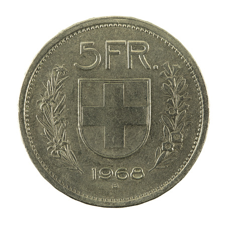 5 swiss franc coin (1968) obverse isolated on white background Banco de Imagens