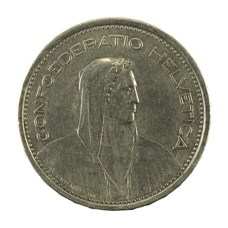 5 swiss franc coin (1968) reverse isolated on white background