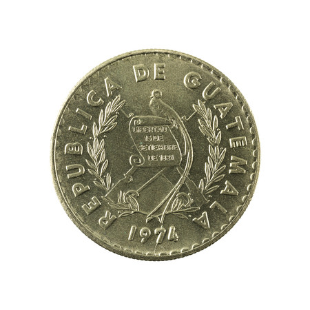 reverse: 10 guatemalan centavo coin (1974) reverse isolated on white background Stock Photo