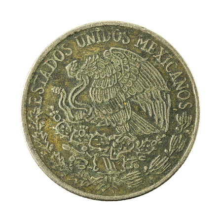 reverse: 50 mexican peso coin (1981) reverse isolated on white background Stock Photo