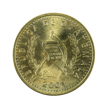 50 guatemalan centavo coin (2001) reverse isolated on white background
