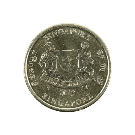 20 singapore cent coin (2013) reverse isolated on white background Stock Photo