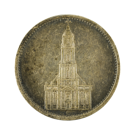 reich: 5 german reichsmark coin (1934) reverse isolated on white background