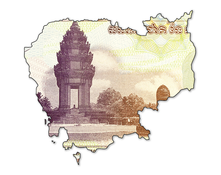 100 cambodian riel bank note obverse in shape of cambodia Stock Photo