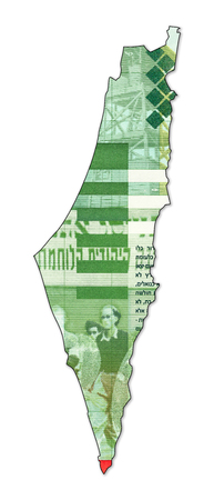 reverse: 20 israeli new shekel bank note reverse in shape of israel Stock Photo