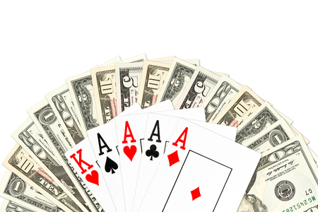 poker hand four of a kind in aces against us-dollar bank notes