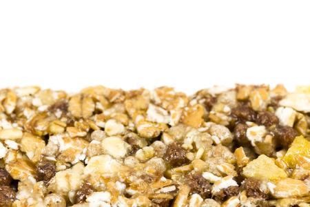 granola bar detail on white background Stock Photo