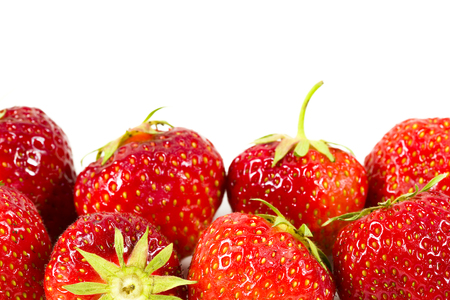fresh strawberries isolated on white background