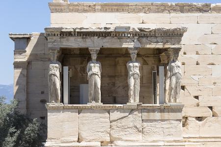 the porch of the Caryatids, The Erechtheum, Acropolis of Athens, Athens, Greece, Europe