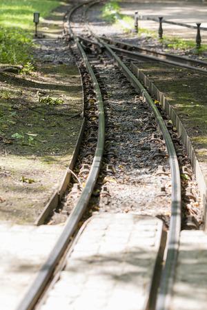 baroque: narrow gauge railway in the Great Garden of Dresden Stock Photo