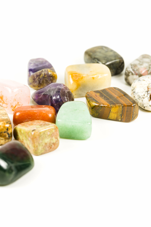 tumbled stones for crystal therapy treatments and reiki Stock Photo