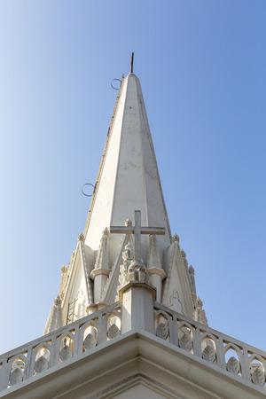 church steeple of St. Thomas Basilica, Chennai, Tamil Nadu, India Stock Photo