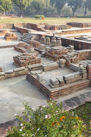 remains of votiv stupas in Sarnath, Varanasi, Uttar Pradesh, India