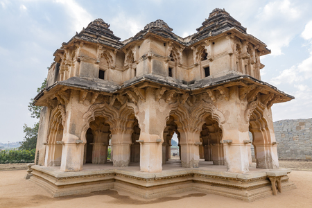syncretic style monument Lotus Mahal, Hampi, Karnataka, India Stock Photo