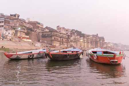 boats on the Ganges river, Varanasi, Uttar Pradesh, India Stok Fotoğraf