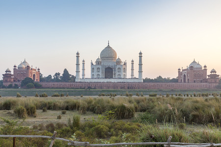 Taj Mahal and outlying buildings as seen from across the Yamuna River (northern view), Agra, Uttar Pradesh, India