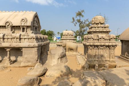 The Five Rathas, Bhima ratha, Elephant sculpture, Arjuna ratha, Mahabalipuram, Tamil Nadu, India