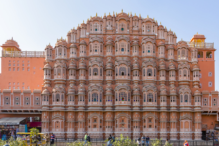 red and pink sandstone facade of Hawa Mahal, Palace of Winds, Palace of the Breeze, Jaipur, Rajasthan, India