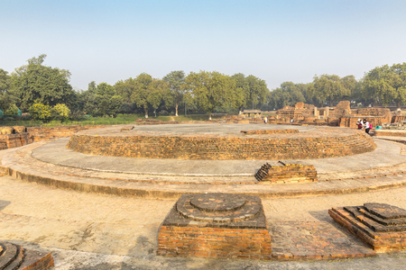 remains of Dharmarajika Stupa in Sarnath, Varanasi, Uttar Pradesh, India