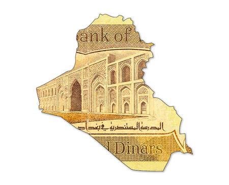 1000 iraqi dinar bank note in shape of iraq