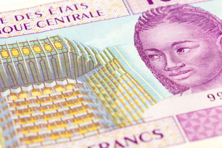 close-up of a single 10000 central african CFA franc bank note obverse