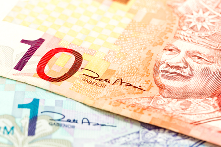 close-up of malaysian ringgit bank notes