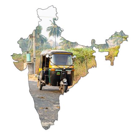 Hampi, Karnataka, India - 1.13.2017; auto rickshaw seen from the side, tuk-tuk on the road in shape of India Editorial