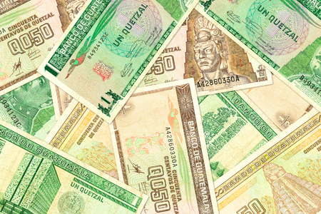some guatemalan quetzal bank notes