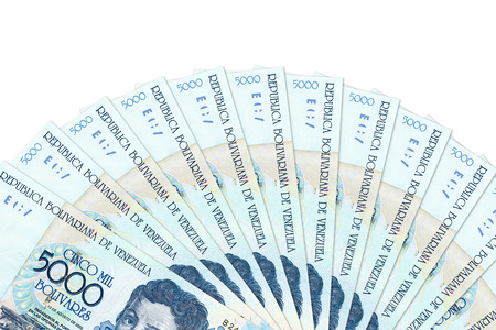 some venezuelan bolivar bank notes with copy space Stock Photo