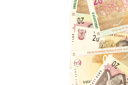 some 20 south african rand banknotes with copyspace
