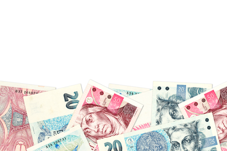 some 20 and 50 czech koruna banknotes with copyspace