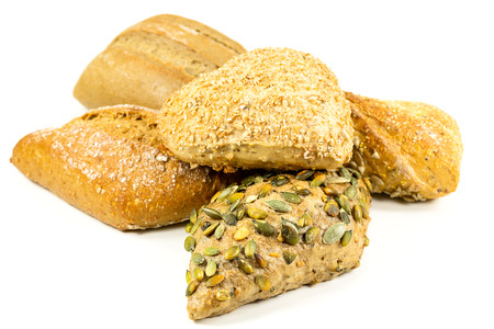 some tasty german bread roll with grains and flour on top, german buns