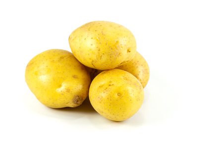 raw potatos isolated on white background