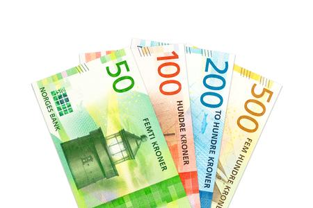 einige neue norwegische kronenbanknoten mit kopierraum