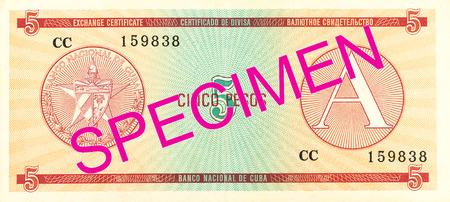 5 cuban peso exchange certificate reverse