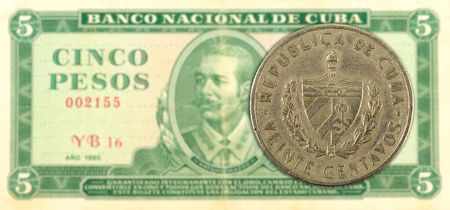 20 cuban centavo coin against 5 cuban peso banknote