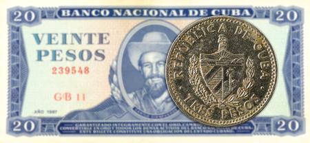 3 cuban peso coin against 20 cuban peso banknote