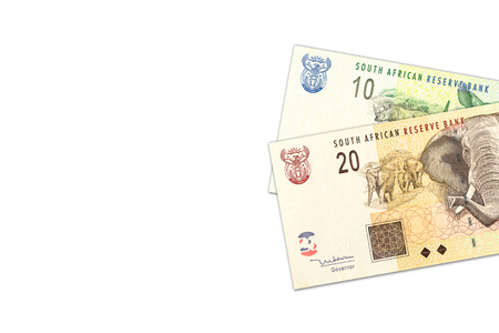 two south african rand banknotes with copyspace
