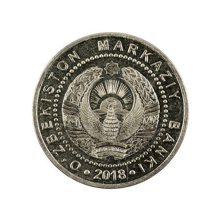 500 Uzbek som coin (2018) reverse isolated on white background