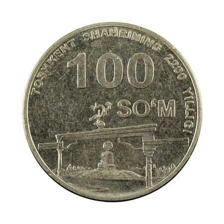 100 Uzbek som coin (2009) obverse isolated on white background 版權商用圖片