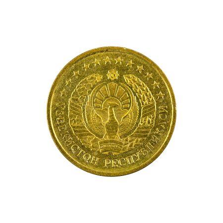 1 Uzbek tiyin coin (1994) reverse isolated on white background Foto de archivo - 126599488