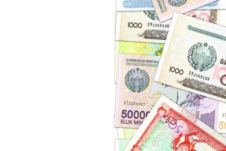some Uzbek Som banknotes indicating growing economy with copyspace Foto de archivo - 126599491
