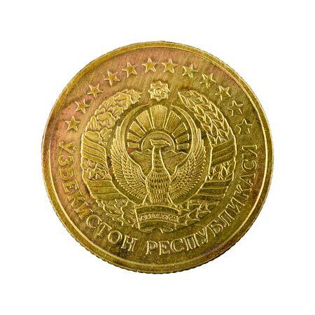 5 Uzbek tiyin coin (1994) reverse isolated on white background Foto de archivo - 126599554