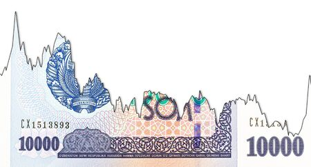 10000 Uzbek Som banknote obverse decline graph indicating exchange rate with copyspace Foto de archivo - 126599565