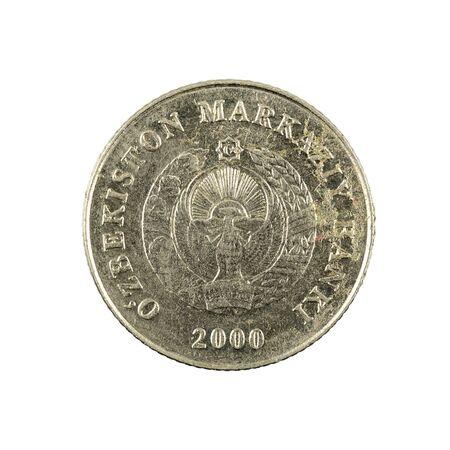 1 Uzbek som coin (2000) reverse isolated on white background Foto de archivo - 126599570