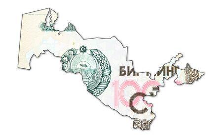1000 Uzbek Som banknote obverse in shape of Uzbekistan Foto de archivo - 126599647