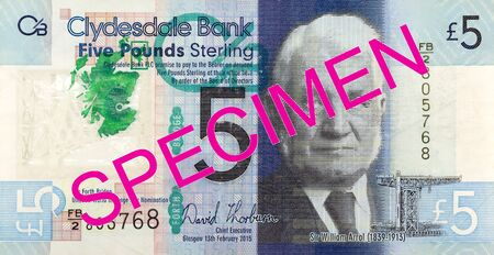 5 Pounds Sterling note issued by Clydesdale Bank PLC specimen reverse Imagens